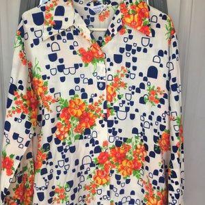 Vintage shirt Japanese floral button down blouse